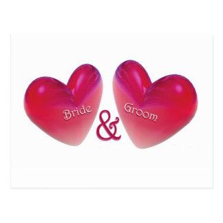 新郎新婦の結婚式の発表 ポストカード