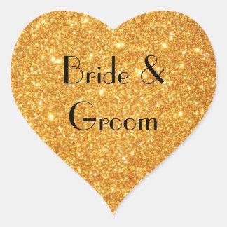 新郎新婦の結婚式の金ゴールドのグリッターの写真 ハートシール