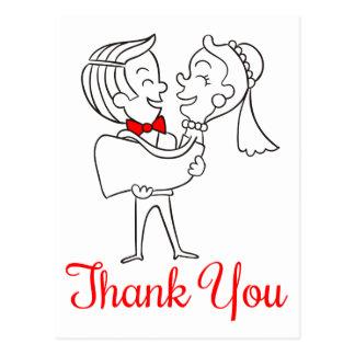 新郎新婦の赤く及び白い結婚式ありがとう ポストカード
