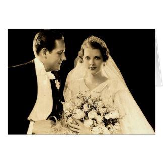 新郎新婦を結婚するヴィンテージ カード
