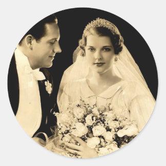 新郎新婦を結婚するヴィンテージ ラウンドシール