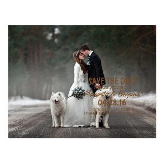 新郎新婦-カップルのクリスマス-白い犬 ポストカード