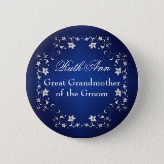 新郎Pinの海軍銀製の花の祖母 5.7cm 丸型バッジ