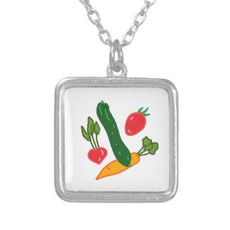 新鮮でおいしい野菜のイラストグッズ Fresh and delicious vegetables o シルバープレートネックレス