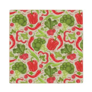 新鮮な野菜からの明るいパターン ウッドコースター