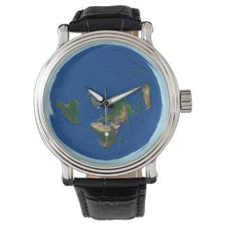 方位角の等距離の世界地図の平らな地球の腕時計 腕時計