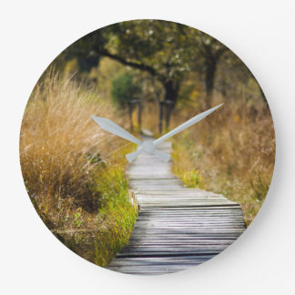 方法前方木製の自然道 ラージ壁時計