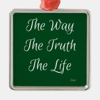 方法、真実、生命 シルバーカラー正方形オーナメント