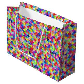 方眼紙の正方形で着色されるカラフル ラージペーパーバッグ