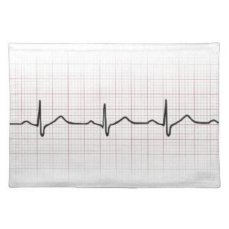 方眼紙のEKGの心拍、PhD (医者)の脈拍 ランチョンマット