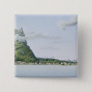 「旅行の自動車からのBora Boraの島の眺め、 5.1cm 正方形バッジ