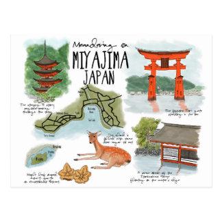 旅行スケッチの郵便はがき: 宮島でうねること ポストカード