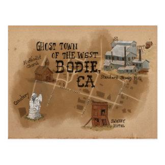 旅行スケッチの郵便はがき: Bodieカリフォルニアのゴーストタウン ポストカード