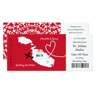 旅行チケットの搭乗券のマルタの結婚式の招待 カード