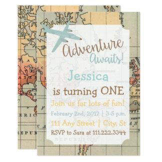 旅行テーマの誕生日の招待 カード