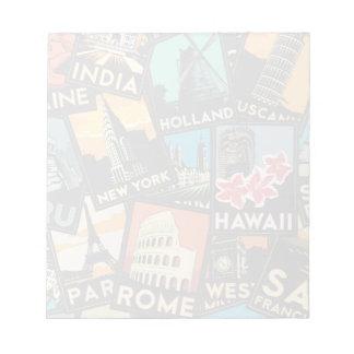 旅行ポスターレトロのヴィンテージヨーロッパアジア米国 ノートパッド