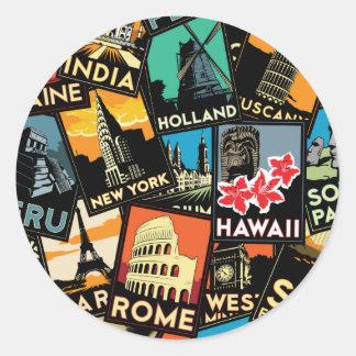 旅行ポスターレトロのヴィンテージヨーロッパアジア米国 丸型シール