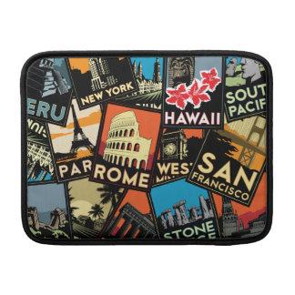 旅行ポスターレトロのヴィンテージヨーロッパアジア米国 MacBook スリーブ