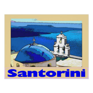 旅行ポスターSantorini Greese ポスター