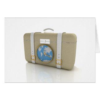 旅行メッセージカードのためのスーツケース カード