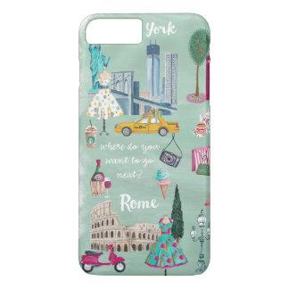 旅行地図のニューヨークローマ| Iphone 7のプラスの例 iPhone 8 Plus/7 Plusケース