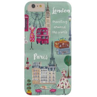 旅行地図のロンドンパリ  Iphone 6のプラスの例 Barely There iPhone 6 Plus ケース