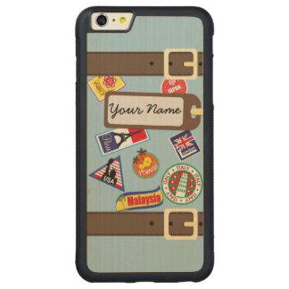旅行荷物の豊富なかえでのiPhone 6のプラスの場合 CarvedメープルiPhone 6 Plusバンパーケース