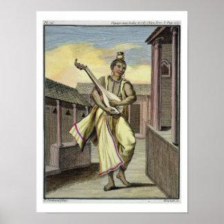 「旅行補助のIndesからのインドのルートを持つミュージシャン、 ポスター