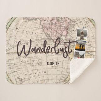 旅行記憶の写真のコラージュ。 Wanderlust. シェルパブランケット