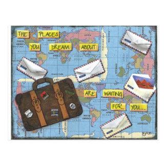 旅行-混合メディアのアートワークの夢を見ること ポストカード