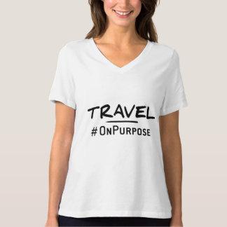 旅行#OnPurposeの女性のリラックスされた適当なV首のティー Tシャツ