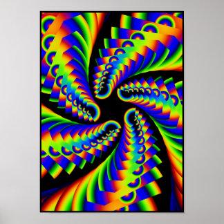 旋回の虹の星形五角形4 ポスター