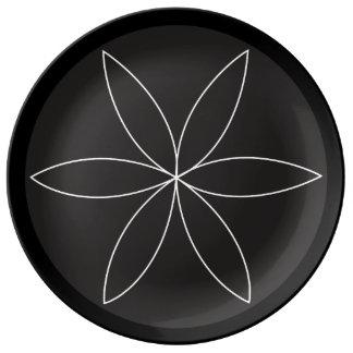 旋盤の花2のプレート 磁器プレート