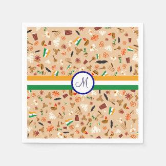 旗およびモノグラムが付いているインドの文化項目 スタンダードカクテルナプキン