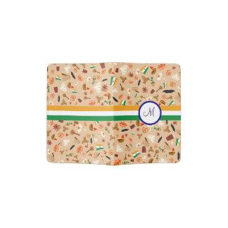 旗およびモノグラムが付いているインドの文化項目 パスポートカバー