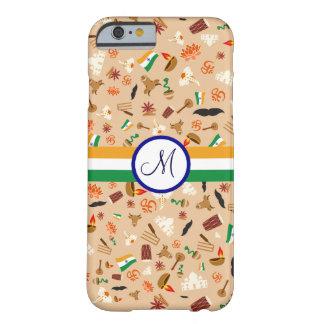 旗およびモノグラムが付いているインドの文化項目 BARELY THERE iPhone 6 ケース