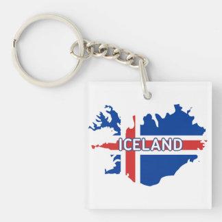 旗が付いているアイスランドの地図 キーホルダー