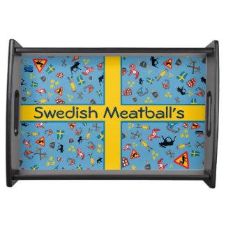 旗が付いているスウェーデン文化項目 トレー