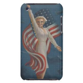旗が付いているユニフォームのヴィンテージの第2次世界大戦の愛国心が強いナース Case-Mate iPod TOUCH ケース
