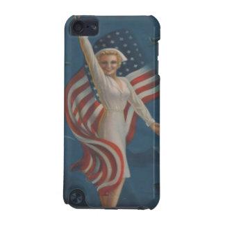 旗が付いているユニフォームのヴィンテージの第2次世界大戦の愛国心が強いナース iPod TOUCH 5G ケース