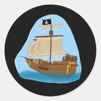 旗が付いている海賊船 ラウンドシール