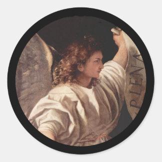 旗とのTitianの天使 丸型シール