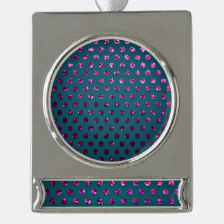 旗のオーナメントの水玉模様のSparkleyの宝石 シルバープレートバナーオーナメント