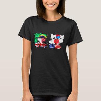 旗のタイポグラフィの女性のTシャツの黒 Tシャツ