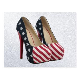 旗のハイヒールの靴 ポストカード