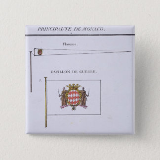 旗のフランスのな本からのモナコからの旗、c. 5.1cm 正方形バッジ