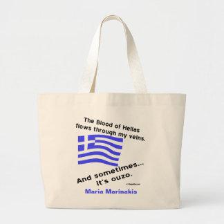 旗のヘラスのギリシャの血およびOuzoおよび名前 ラージトートバッグ