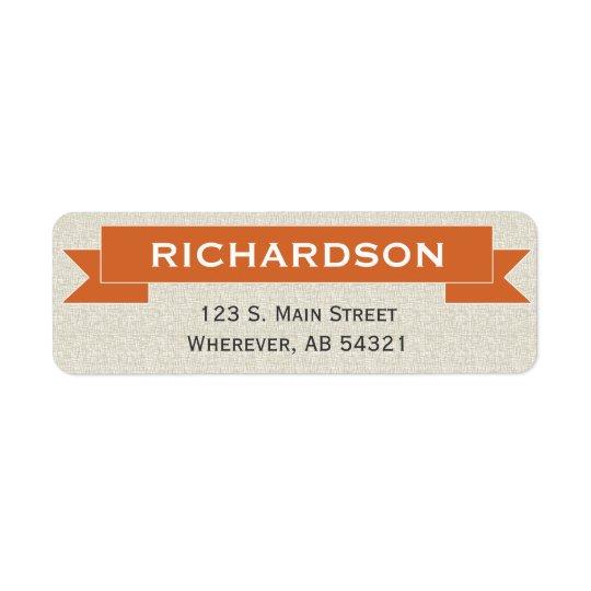 旗のリボンの印のオレンジの差出人住所ラベル ラベル