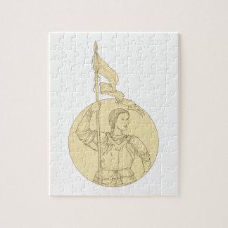 旗の円のスケッチを握っているメスの騎士 ジグソーパズル