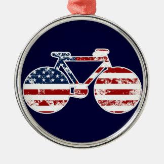 旗の愛国心が強い米国のサイクリング メタルオーナメント